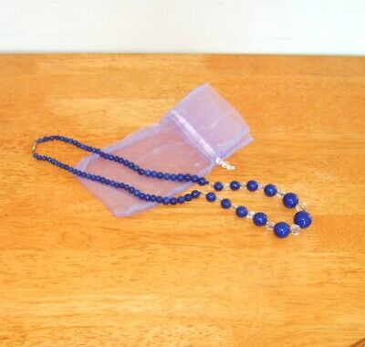Lapiz Lazuli and crystal bead necklace - very old