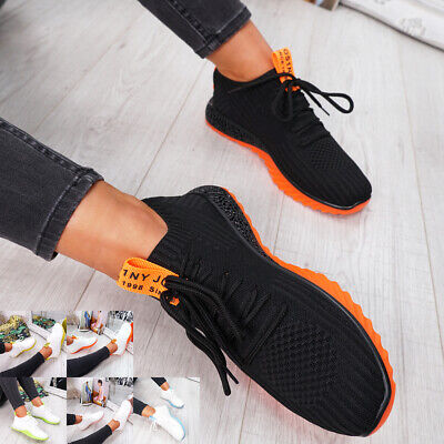 Womens Ladies Lace Up Running Trainers Gym Sneakers Low Weight Comfy Shoes Size