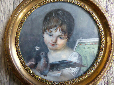 SUPERB ANTIQUE EARLY 19th CENTURY YOUNG GIRL MINIATURE PORTRAIT w. BIRD 1830's