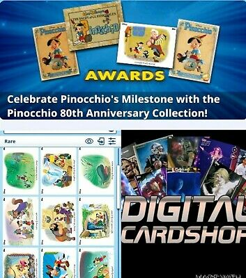 Topps Disney Collect Pinocchio 80th Anniversary Vintage Illustrated Set 10 Cards