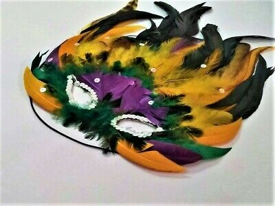 Adult Mardi Gras Butterfly Shape Multi Color Feathered Eye Mask