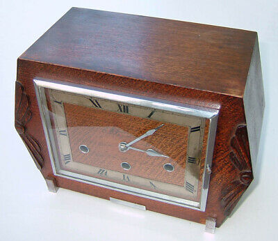 Norland Art Deco chiming mantle clock in full working order with key & pendulum