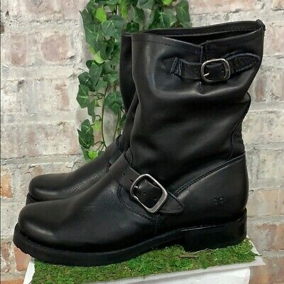 NIB Frye Womens Veronica Short Leather Boot Black Buckle Slouch Pick Size