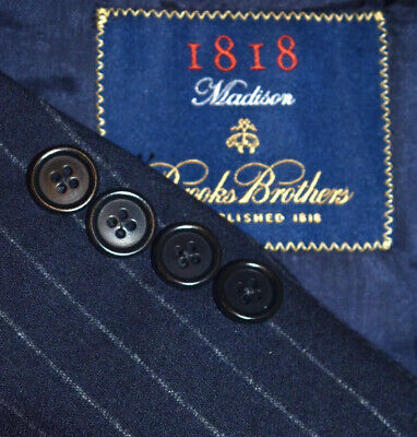 42R 43R Brooks Brothers Madison made ITALY Tweed Navy Chalkstripe 2 PIECE SUIT