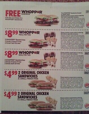 Burger King Fast food Coupons ten 10 total exp 3/22/2020 March