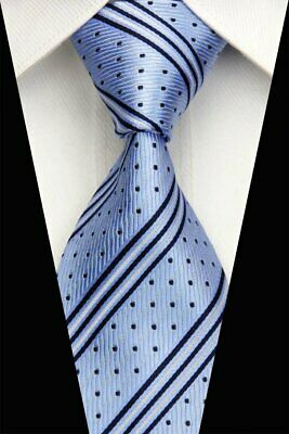 Mens Classic Striped Tie Blue JACQUARD WOVEN 100% Silk Tie Necktie #LE510