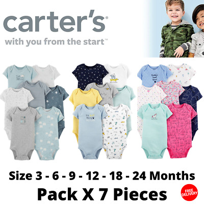 New Carter's Baby Bodysuit Boys Girls Size 3 6 9 12 18 24 Months Pack X 7 Pieces