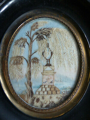 SUPERB ANTIQUE MID 19th CENTURY FRENCH SENTIMENTAL MOURNING HAIR ART 1840's