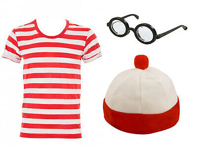Red And White Boys Girls Kids Costume World Book Day Week Fancy Dress