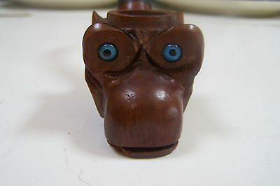 Antique Folk Art Carved Wood Primitive Glass eyes owl (?) Smoking Pipe
