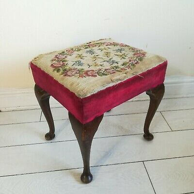 Antique vintage Queen Anne style foot stool - embroidery footstool