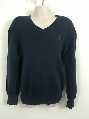 Boys Polo Ralph Lauren Navy Jumper Sweater V Neck Pull Over  Size 6 Years Child