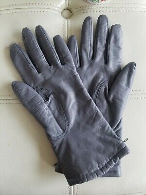 Wilsons Genuine Leather Gray Womens Gloves White Black Size small
