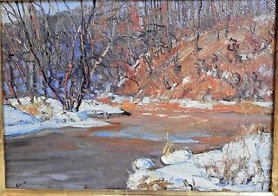 Walter Baum Bucks County PA Artist Melting Snow Wooded Scene Signed Oil Painting