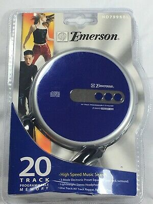 Emerson Cd Player Portable Disc Man Model # Hd7998Bl With Headphones