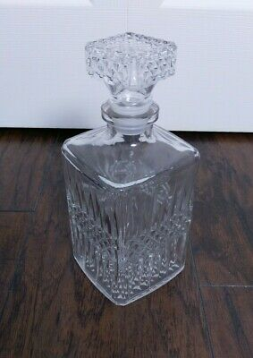 Vintage Crystal Liquor Decanter French Diamond Cut Square w/Stopper Made France