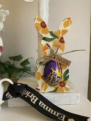 Emma Bridgewater Themed Wooden Easter Bunny - Creme Egg Holder - Daffodils