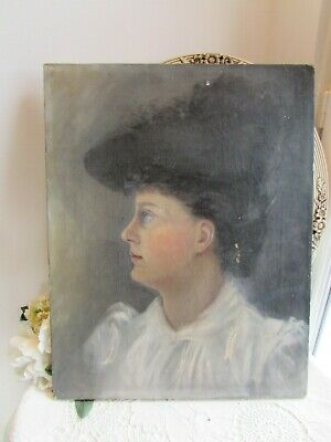 Antique Original Oil On Canvas.  Portrait Of Young Lady 1890'S