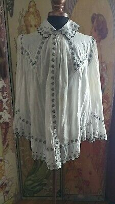 Rare Antique Edwardian Victorian Embroidered Cotton Blouse Bell Sleeves