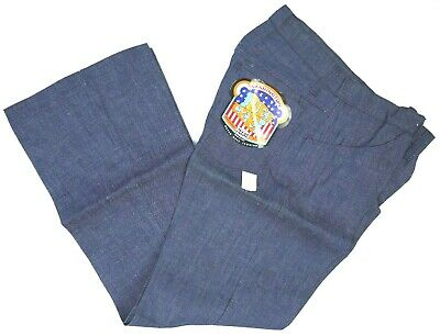 VINTAGE 70s DEE CEE BELL BOTTOM/FLARE BLUE JEANS USA MADE MENS 33x34 NOS NWT