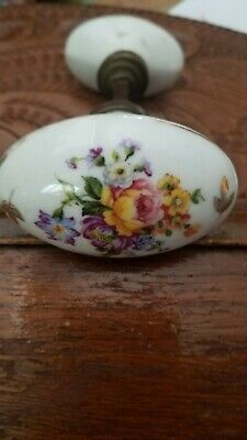 Antique Hand Painted Floral Porcelain Door Knobs Oval Shaped~Very Old~ Beautiful