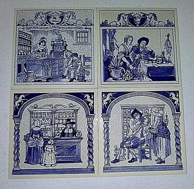 (4) Commemorative Pharmacy Ceramic Pill Tile Set #1 - Delft - Holland - Free S&H