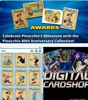 Topps Disney Collect PINOCCHIO 80th Anniversary Variant Character Set of 9 Cards