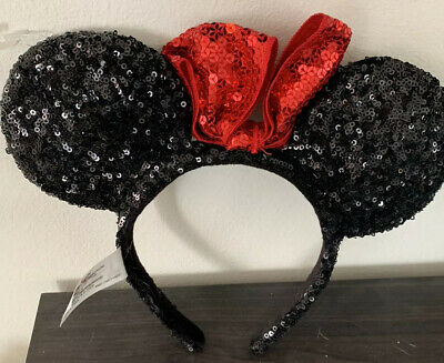 New Disney Parks Black With Red Bow Sequins Minnie Mouse Headband