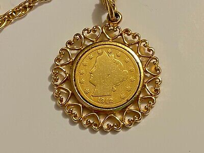 Vintage WLP 1912 Liberty Head V Nickel Coin Medallion Necklace gold tone chain