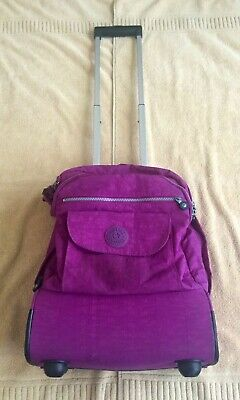 Kipling Alcatraz Large Rolling Laptop Backpack Purple Nylon Luggage Carry On