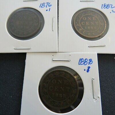 Canadian Large Pennies Lot 2: 1876+1882+1888.