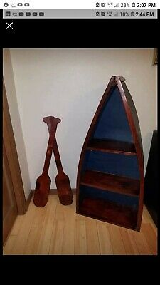 4ft tall Wood Boat Shelf + Ore Wall Hanging,Vintage Nautical Sea Decor Book Case