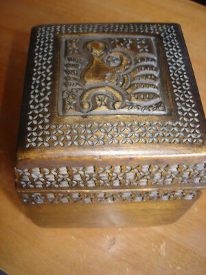 Antique Old Russian Russia Carved Painted Wooden Wood Bird Tobacco Snuff Box
