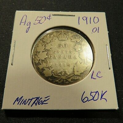 1910 Canadian Silver (92.5% Ag)  50 Cent Coin Lot C: Low Mintage 650k