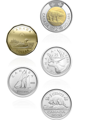 NEW! 2020 CANADA 5 coin circulation set BU UNC from FIRST STRIKES Mint roll