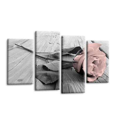 4Pcs White Pink Grey Love Rose Floral Canvas Wall Art Picture Print Home DIY