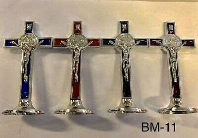 Red/Blue/Brown/Black Metal Enamelled Cross Crucifix