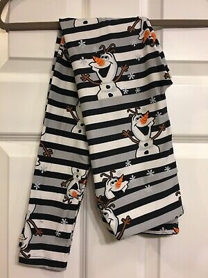NWT Lularoe Disney Frozen Olaf Black & Gray Striped OS One Size Leggings