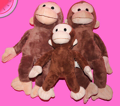 Lot 3 Plush CURIOUS GEORGE Stuffed Monkey Monkies Applause Kohls Cares 12 - 17""