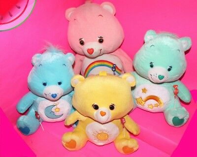 "LOT Jumbo CARE BEARS 16"" Plush Stuffed BEDTIME WISH FUNSHINE CHEER Carebears"