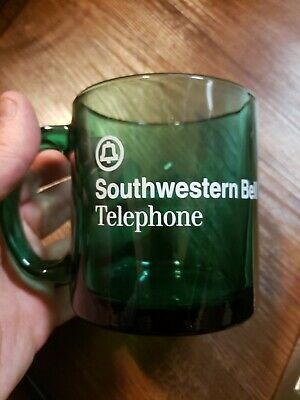 Vintage Southwestern Bell Corporation Coffee Mug Cup Clear Green