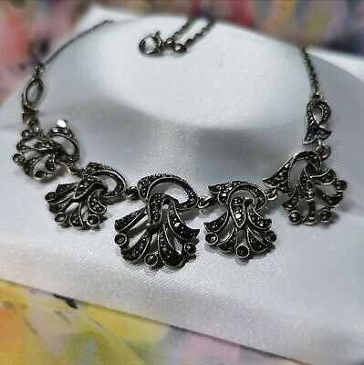 Stunning Antique STERLING SILVER & Marcasite Art Deco Necklace