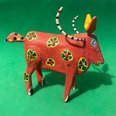 Cow Alebrije Spirit Animal Wood Oaxaca Hand Carved Mexican Folk Art SR Cordova