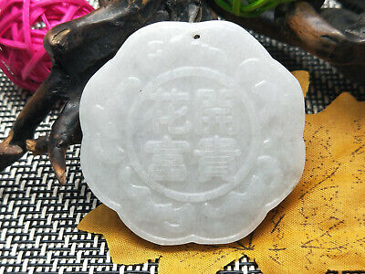 China Delicate Hand Carved Myanmar Emerald Wear jewelry Blossoming rich Pendant