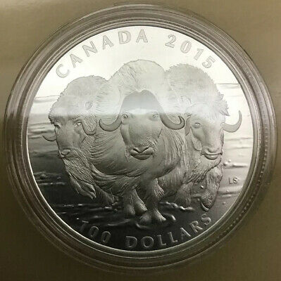 2015 Canada $100 for $100 Canadian Muskox Wild Life in Motion 1oz Silver coin