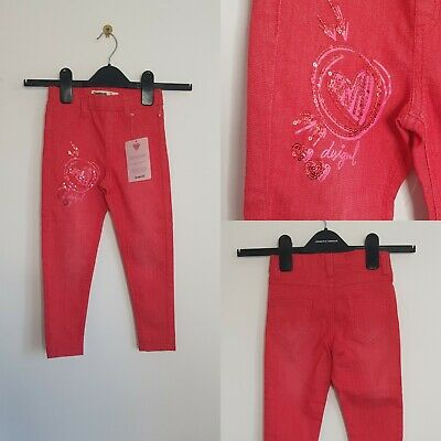 DESIGUAL Children's Trousers Pink Size 3/4 98cm Sequins Jeans Casual Stretch