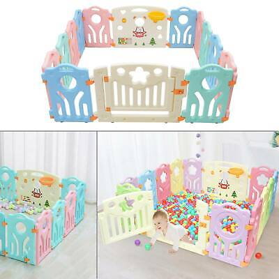 12+2 Large Foldable Plastic Baby Playpen Indoor& Outdoor With Optional Playmats