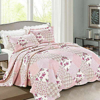 Quilted Patchwork Bedspread Super King Bedding Set Bed Throw With Pillow Cases