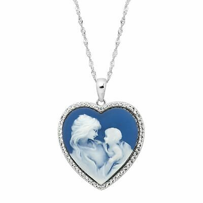Crystaluxe Mother & Child Heart Cameo Pendant with Swarovski Crystals in Silver