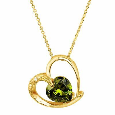 Heart Pendant with Green Cubic Zirconia in 18K Gold-Plated Brass, 18""